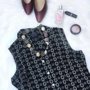 Vintage Silk Sleeveless Geometric Button Blouse S
